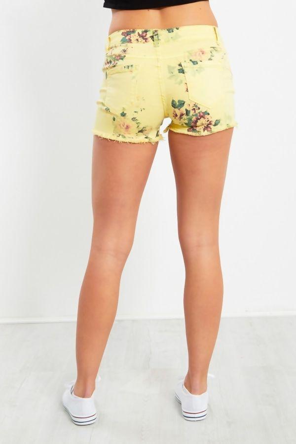 Yellow Floral Print Denim Shorts