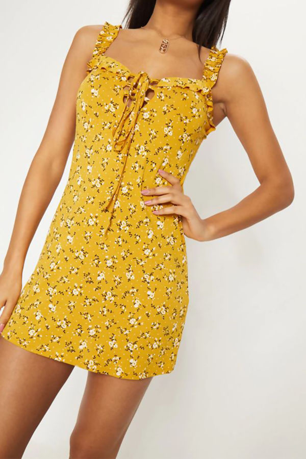 Yellow Floral Print Frill Detail Shift Dress