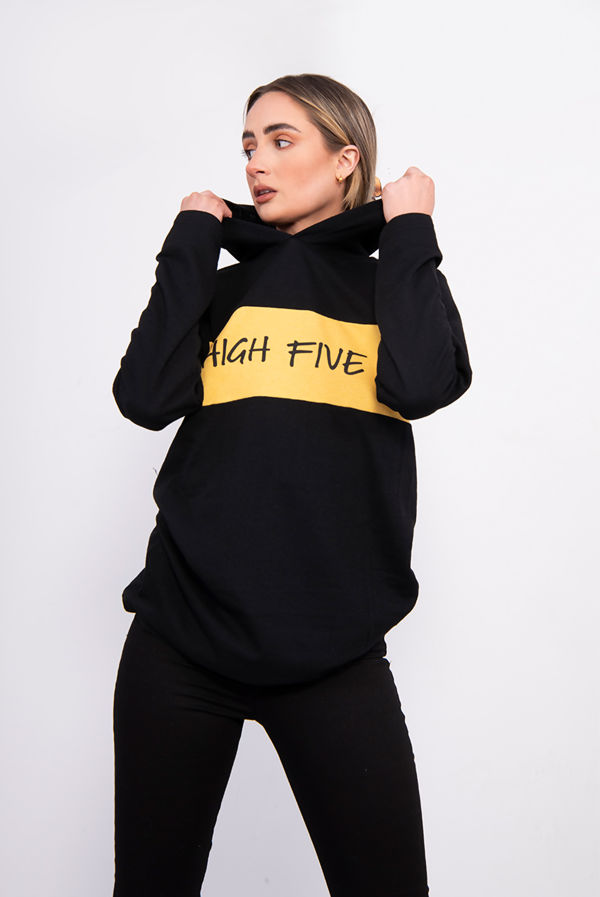 Yellow High Five Hooded Top