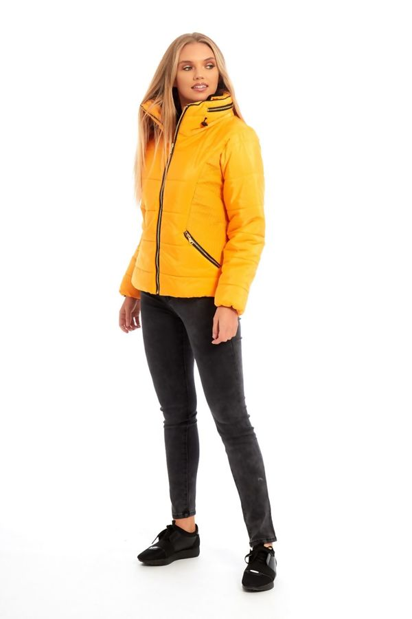 Yellow High Neck Padded Puffer Quilted Jacket