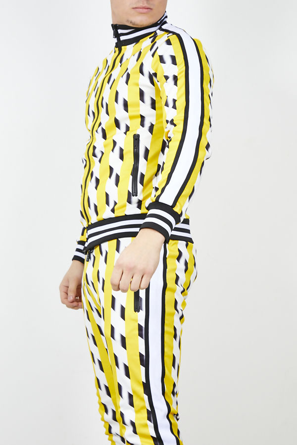 Yellow Houndstooth Skinny Fit Tracksuit