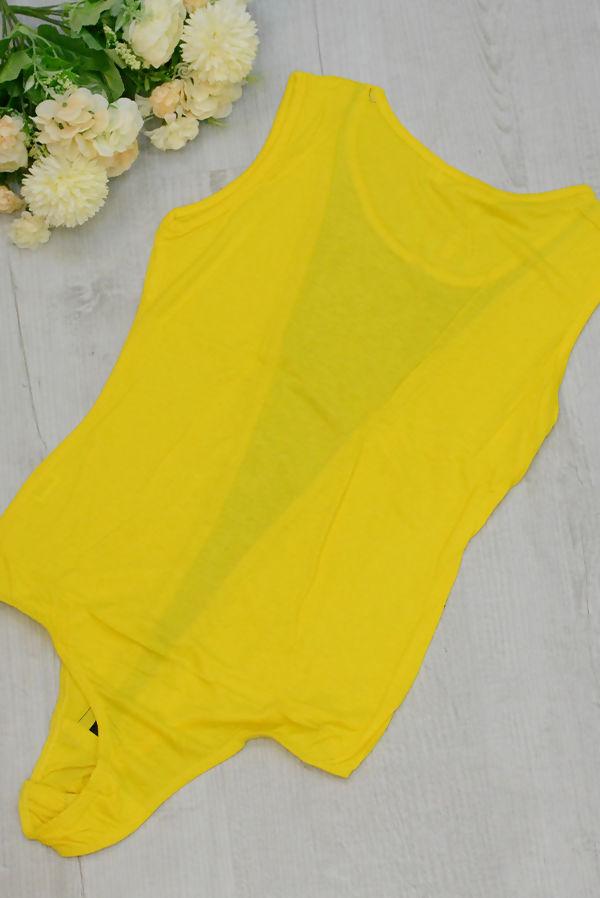 Yellow Mesh Sleeveless Bodysuit