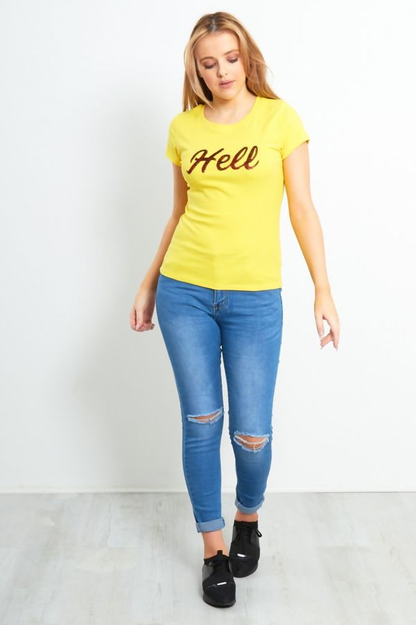 Yellow Paillette Hell Slogan T-Shirt