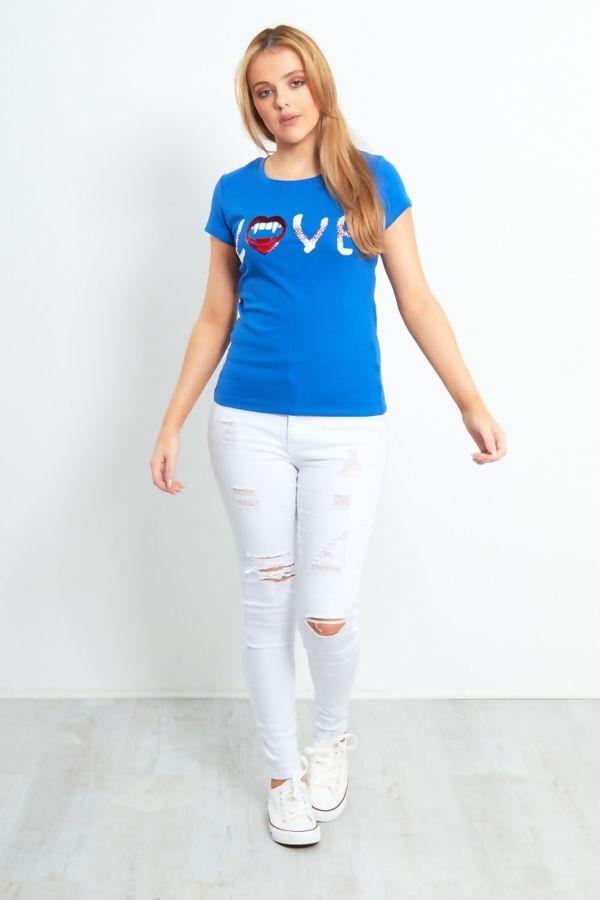 Yellow Paillette Sequin Love Slogan T-Shirt