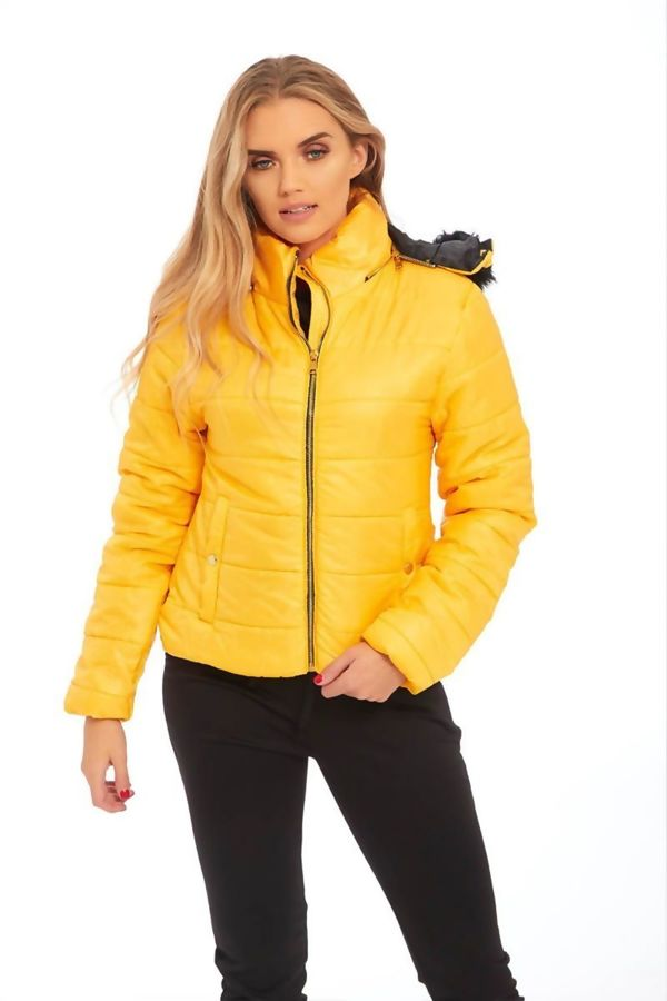 Yellow Puffer Fur Hood Jacket