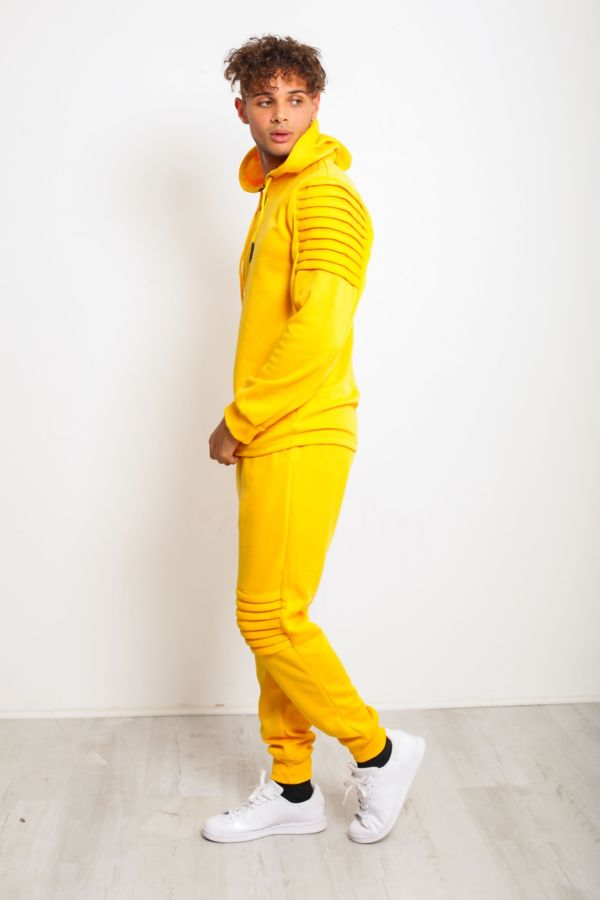 Yellow Ribbed Floral Embroidered Pullover Tracksuit