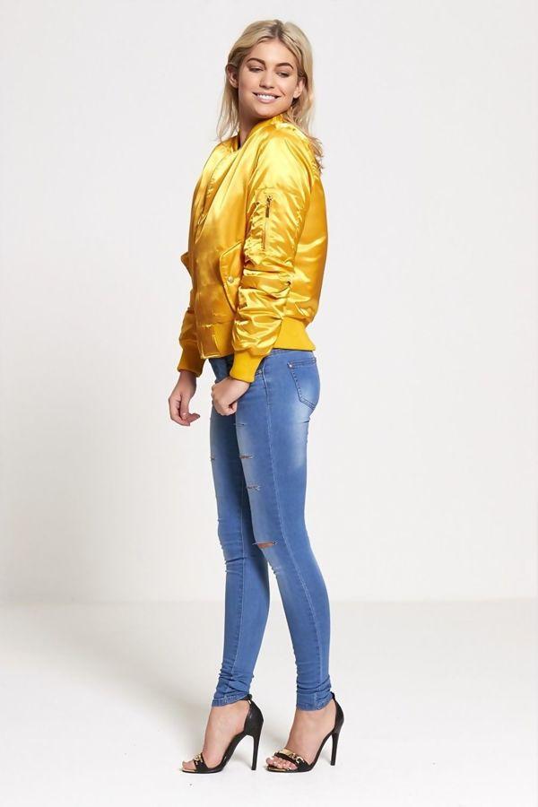 Yellow Satin MA1 Bomber Biker Jacket