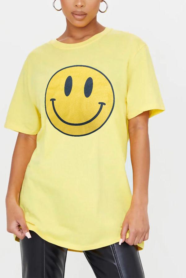 Yellow Smiley Printed T Shirt