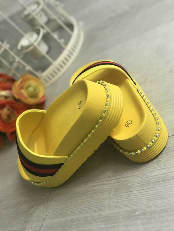 Yellow Studded Sole Flatform Sliders