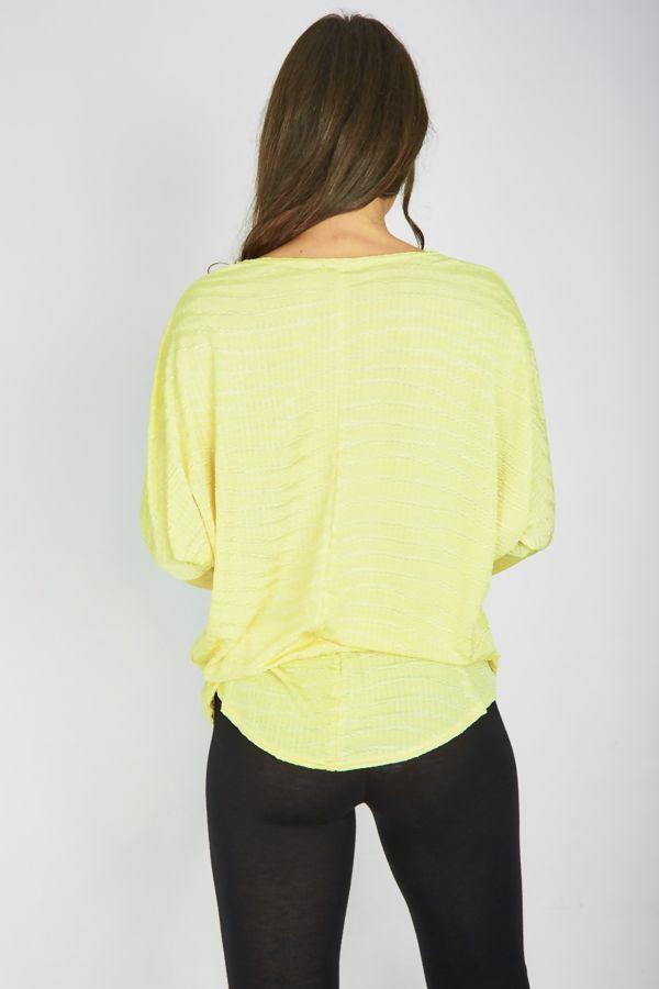 Yellow Textured Dip Hem Batwing Top