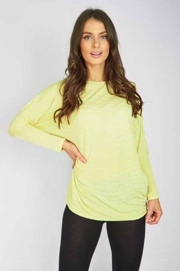 Grey Ribbed Dip Hem Batwing Top