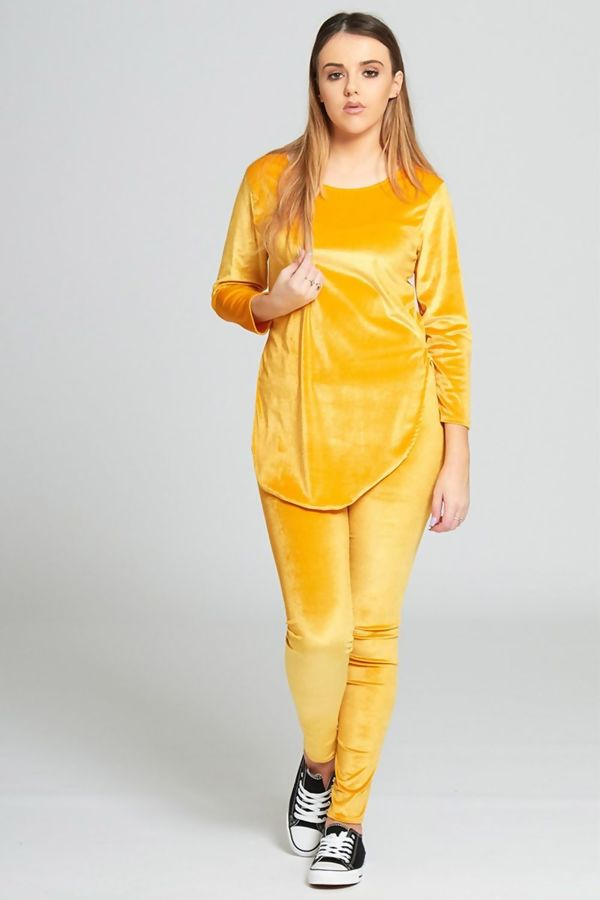 Yellow Velvet Look Loungewear Set