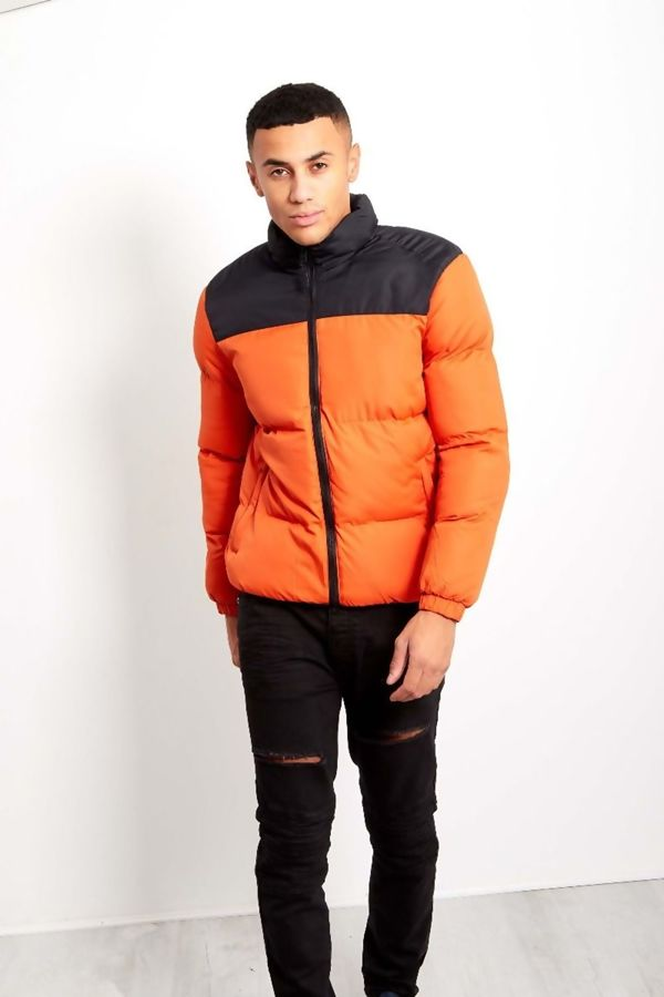 Yellow With Black Contrast Panel Padded Jacket