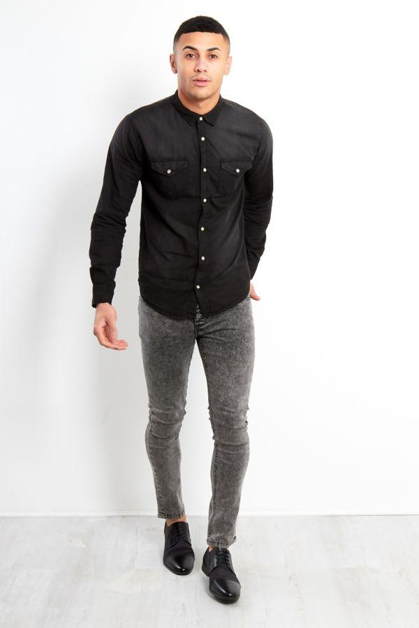 Black Washed Denim Long Sleeve Shirt
