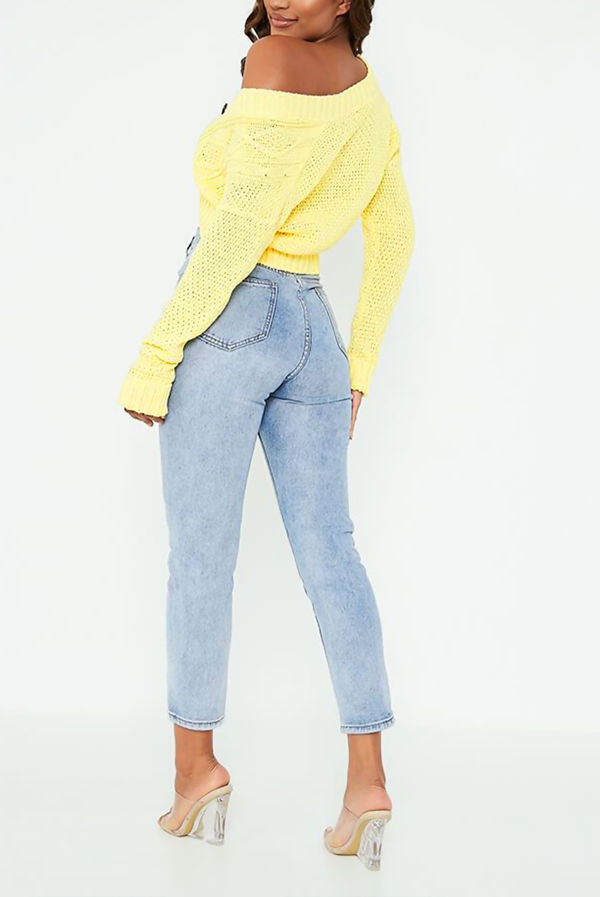 Yellow Cable Cropped Button Up Cardigan