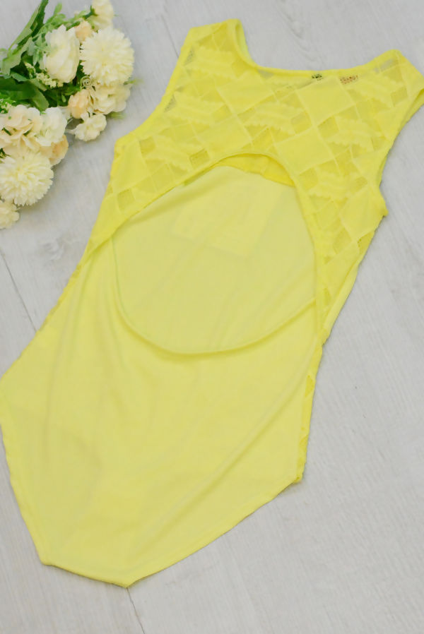 Yellow Cut Out Back Lace Up Bodysuit