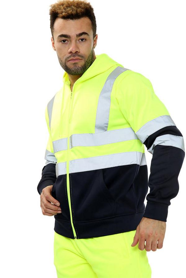 Yellow Hi Vis Double Tone Fleece Zip Jacket