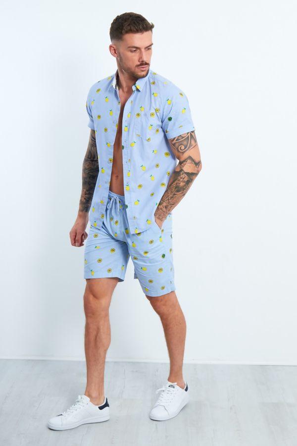 Ice Blue Lemon Print T-Shirt and Short Set