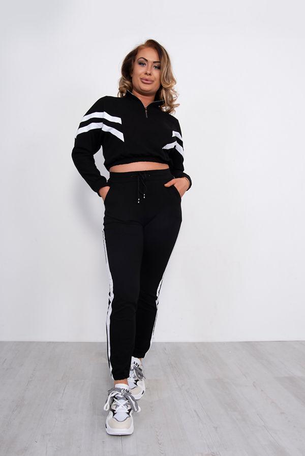 Zip Cropped Sweatshirt And Jogger Lounge Set