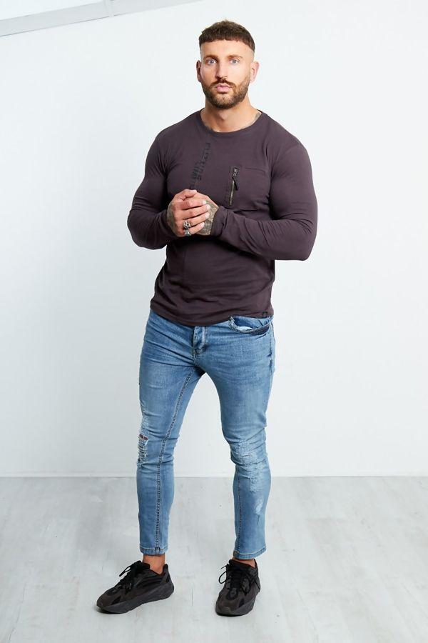 Zip Pocket Front Long Sleeve T-shirt