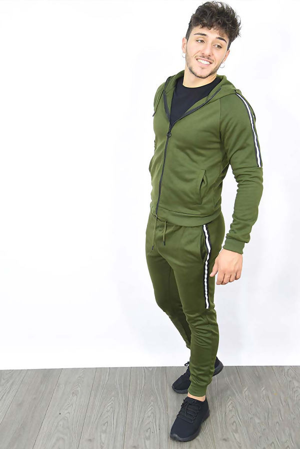 Khaki Zip Through Skinny Tracksuit With Side Stripe