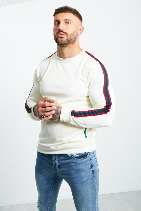 Zipped Pocket Front Striped Sleeve Jumper