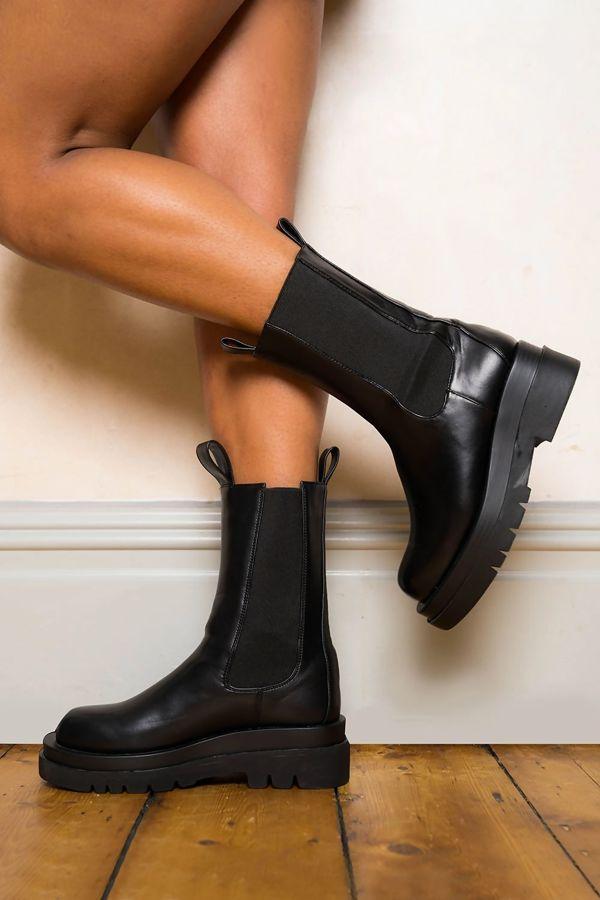 Black PU Chunky Sole Calf High Boots