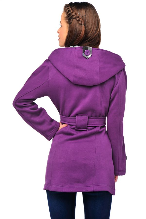 Purple Double Breasted Fleece Hood Belted Coat