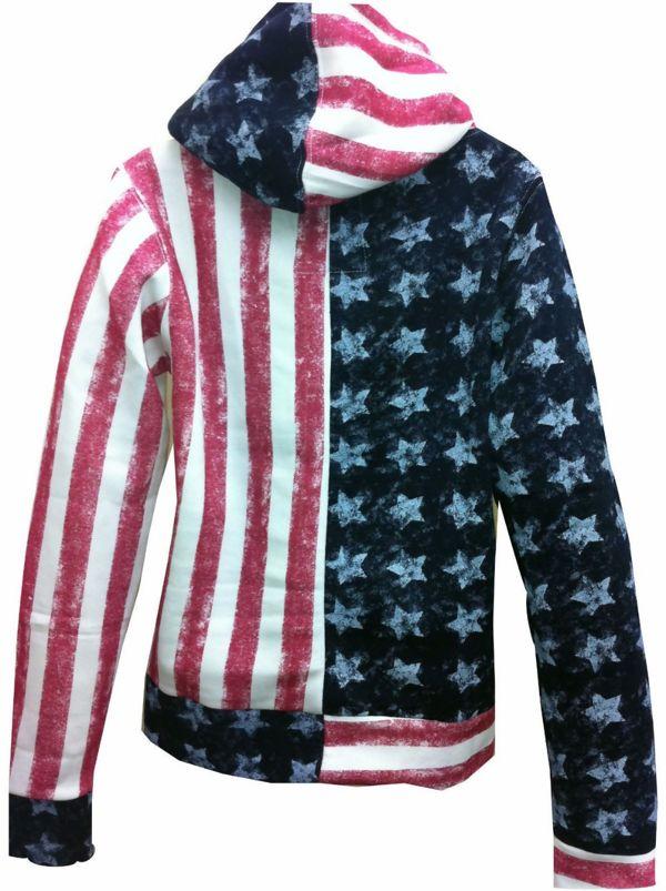 Plus Size USA Flag Print Hoodie Jacket