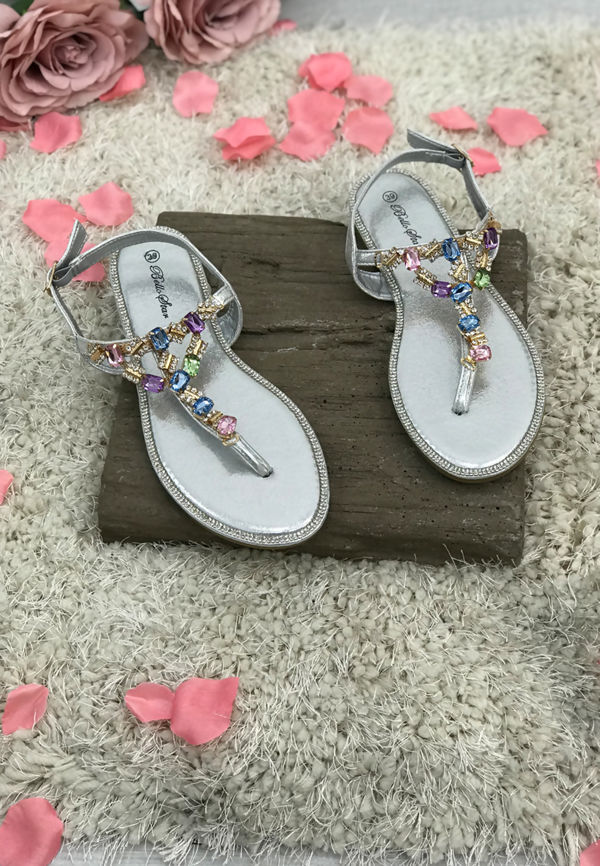 Silver Multi Diamante Shinny Flat Sandals
