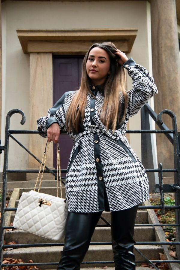 Black Faux Leather Check Print Belted Shacket