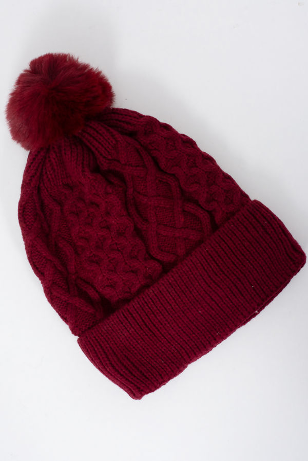 Braid Knit Pom Pom Beanie