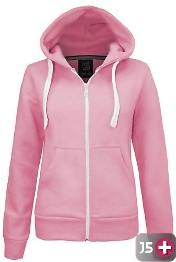 Plus Size Unisex Pink Plain Hoodie