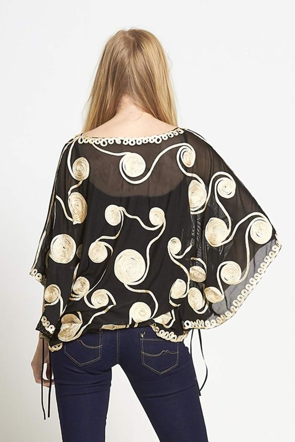 Cream Mesh Cape Top