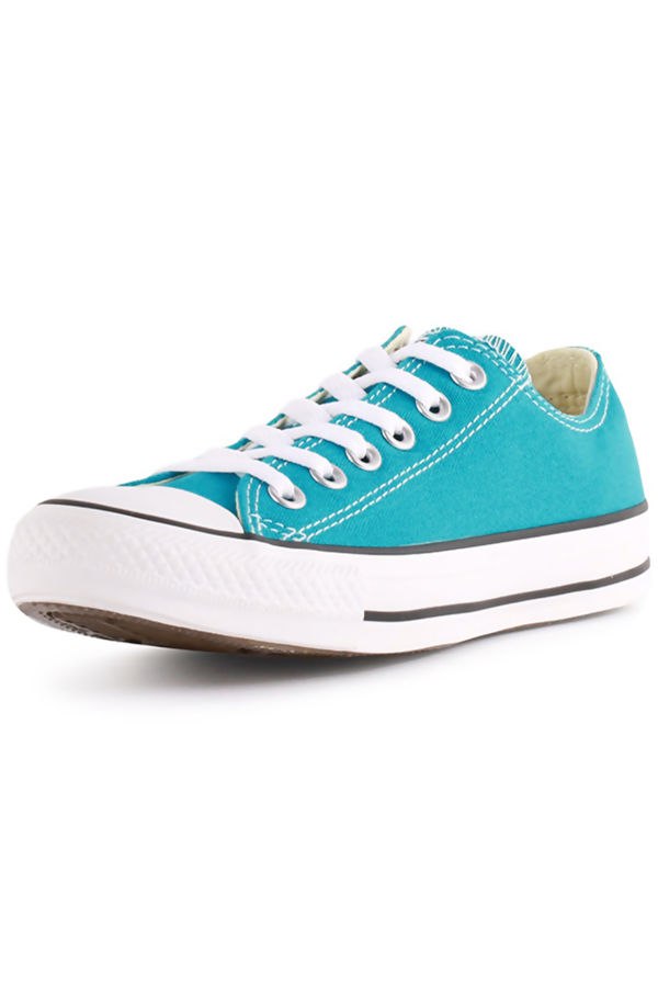 Turquoise Canvas Flat Lace Up Trainers