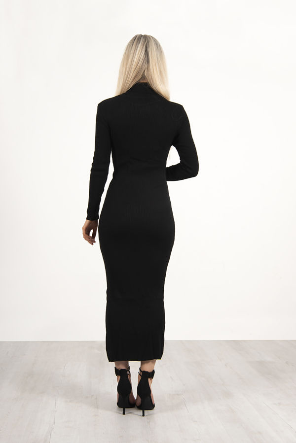 Black Roll Neck Rib Midi Dress With Contrast Cardigan