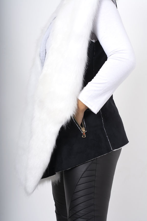 Black Faux Fur Trim Shearling Inside Suede Vest Coat
