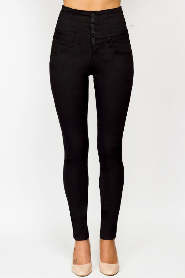 Black High Waisted Button Up Skinny Jeans