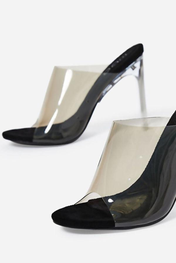 Black Perspex Peep Toe Mule Heels