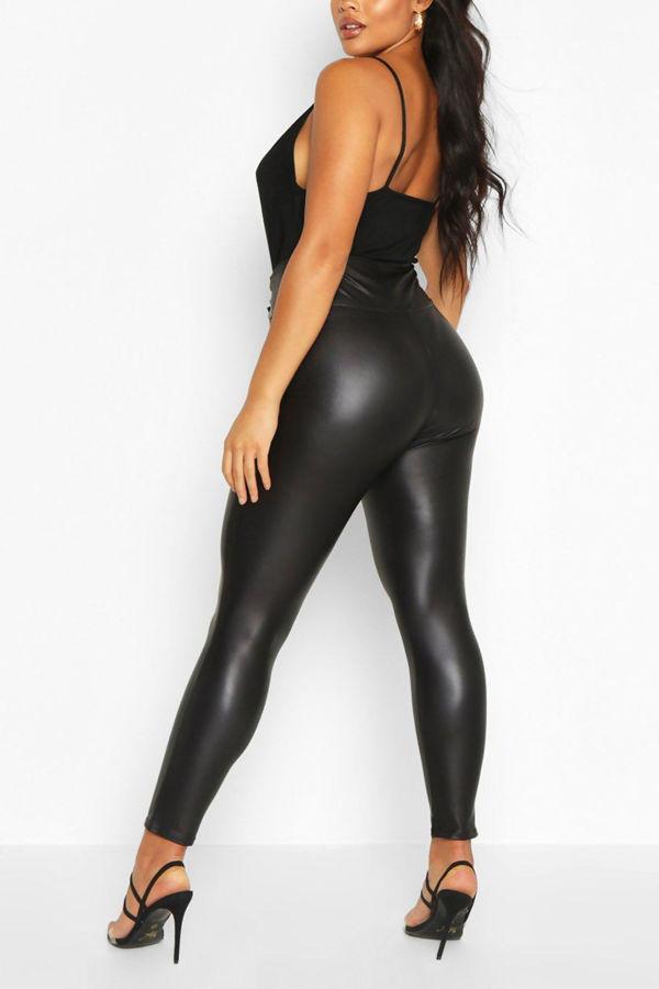 Plus Size Skinny Black High Waist Leggings