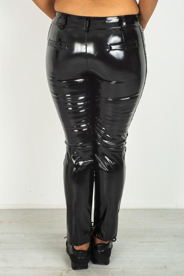 Black Vinyl Pants With Silver Sequin Stripe