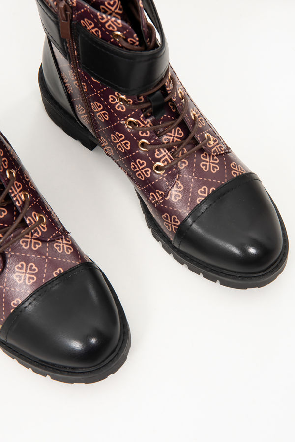 Brown Printed Lace Up Ankle Boots
