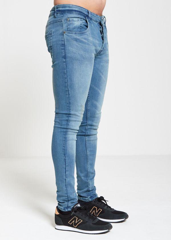 Skinny Fit Blue Wash Distress Jeans