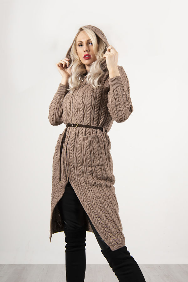 Mocha Cable Knit Hooded Longline Cardigan With Belt