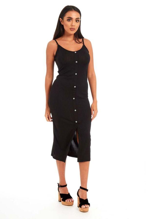 Black Button Front Cami Midi Dress
