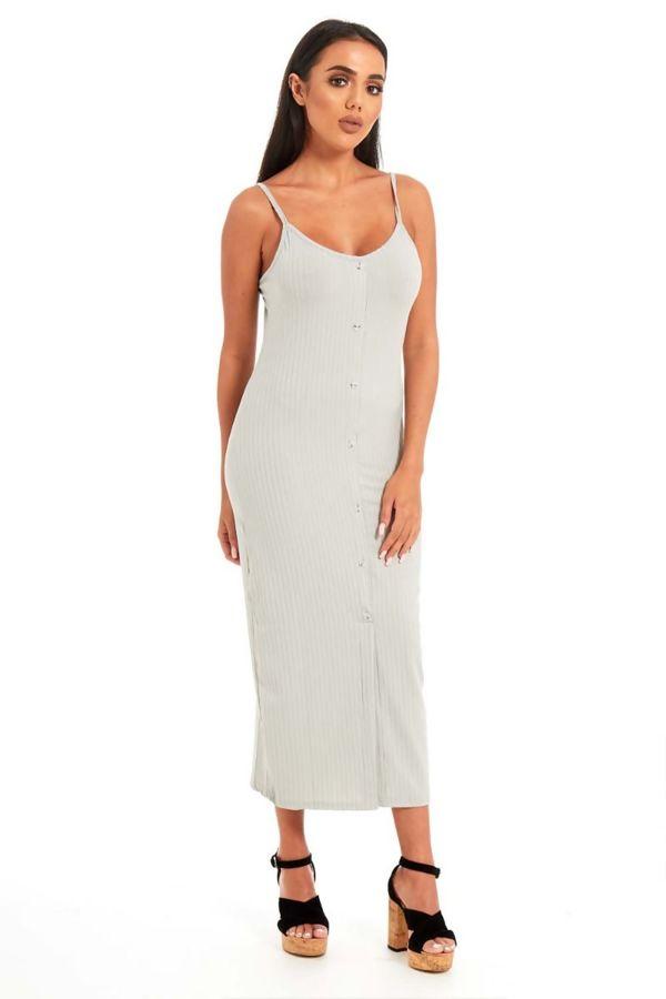 Grey Button Front Cami Midi Dress