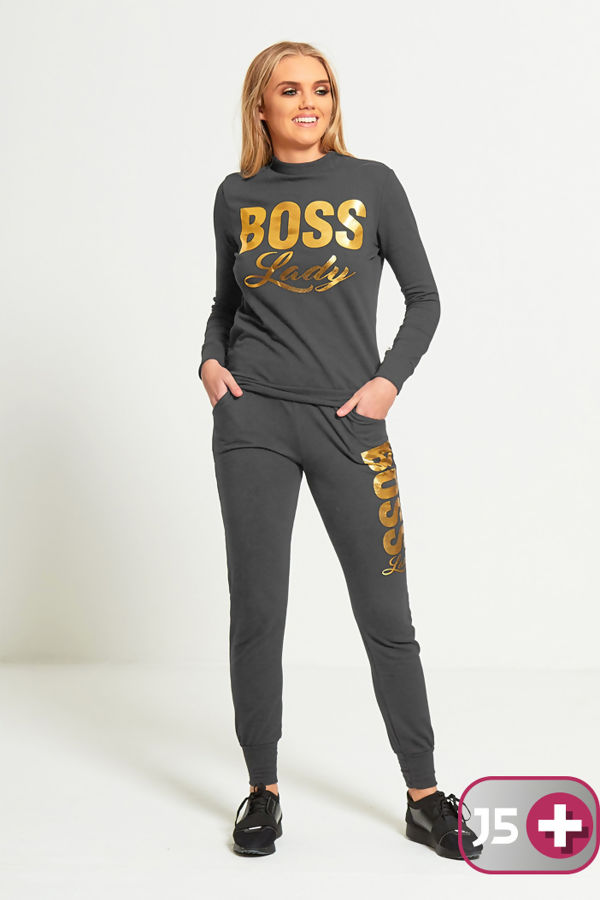 Plus Size Charcoal Boss Lady Customized Tracksuit