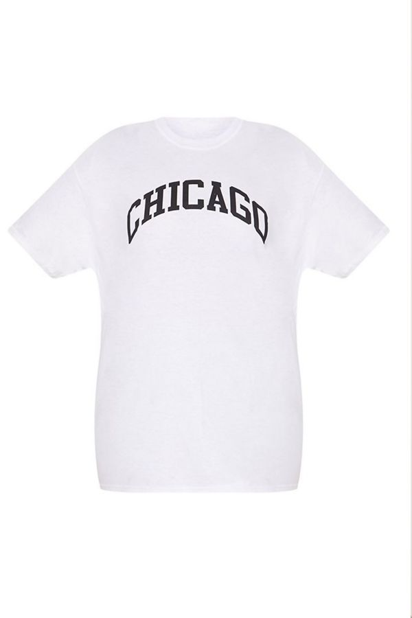 White Chicago Oversized Long T-Shirt