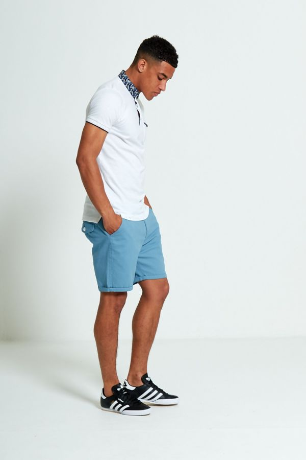 White Feather Print Collar Polo T-Shirt