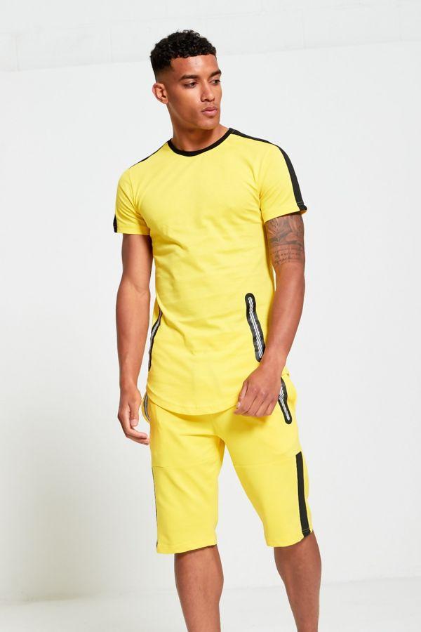 Yellow and Black Contrast Dip Hem T-Shirt and Short Set